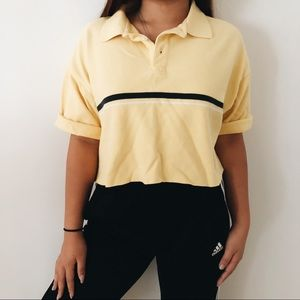 vintage 90s Gap Yellow Black Stripe Polo Crop Top